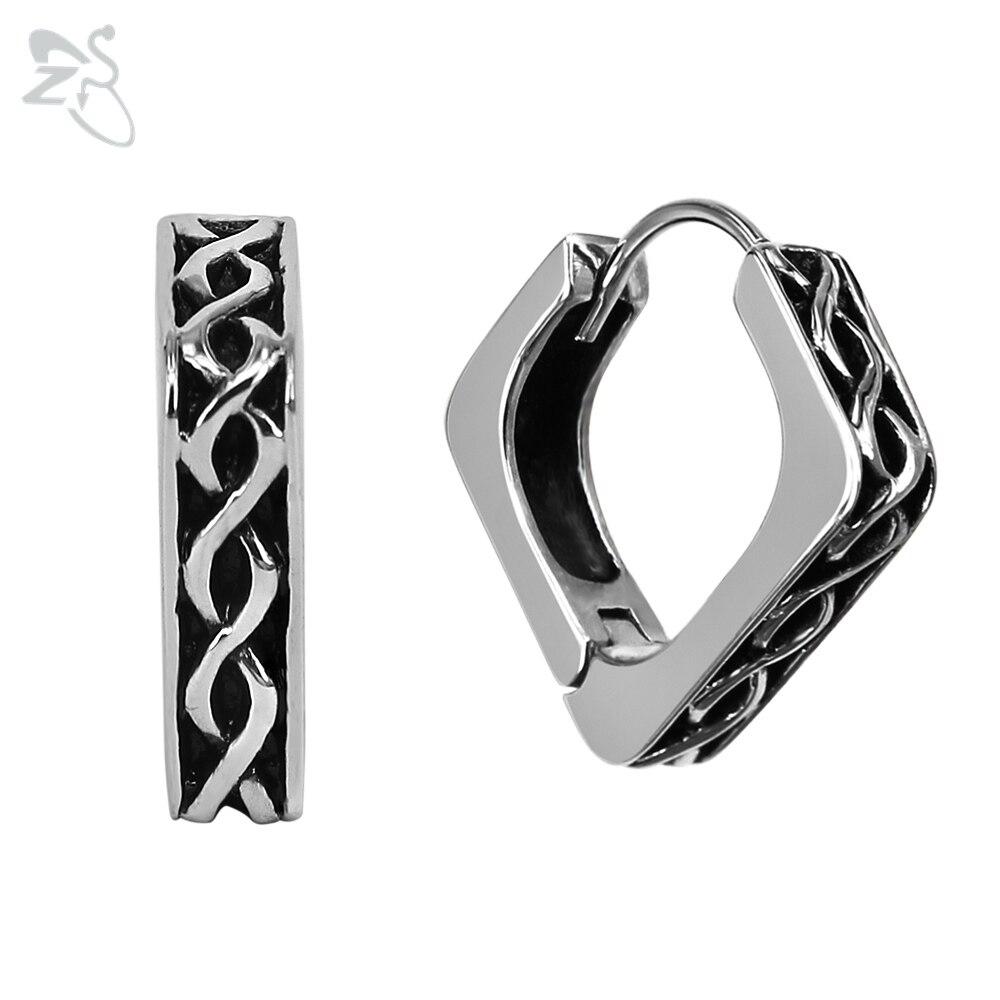 9876f483f9cf Pendientes de aro de acero inoxidable Aros de plata de moda para hombre,  Aros cuadrados para hombre y mujer, pendientes de círculo para Piercing en  ...