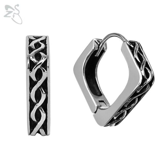 Stainless Steel Hoop Earrings Silver Aros Trendy Mens Earring Hoops Square Man Women Ear Piercing Circle Punk Jewelry