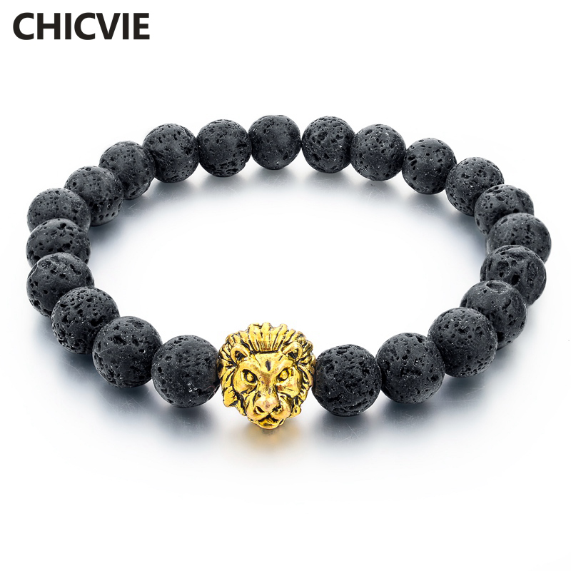 CHICVIE Natural Stone Gold Color Lion Strand Men Bracelet Femme Handmade Beads Bracelets Ethnic Men Jewelry Gifts SBR160001