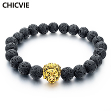CHICVIE Natural Stone Gold color Lion strand Men Bracelet Femme Handmade Beads Bracelets Ethnic Men Jewelry Gifts SBR160001