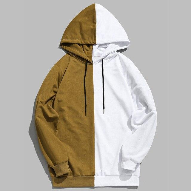 2019 Hot Sale Half Color Solid Pullover Sweatshirt Sudadera Hombre Harajuku Hip Hop Hoodies Unisex Streetwear High Quality 3