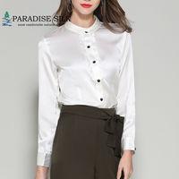 Women Shirts Real Silk Stretch Satin Long Sleeve frill front button down Top Size L XL XXL XXXL