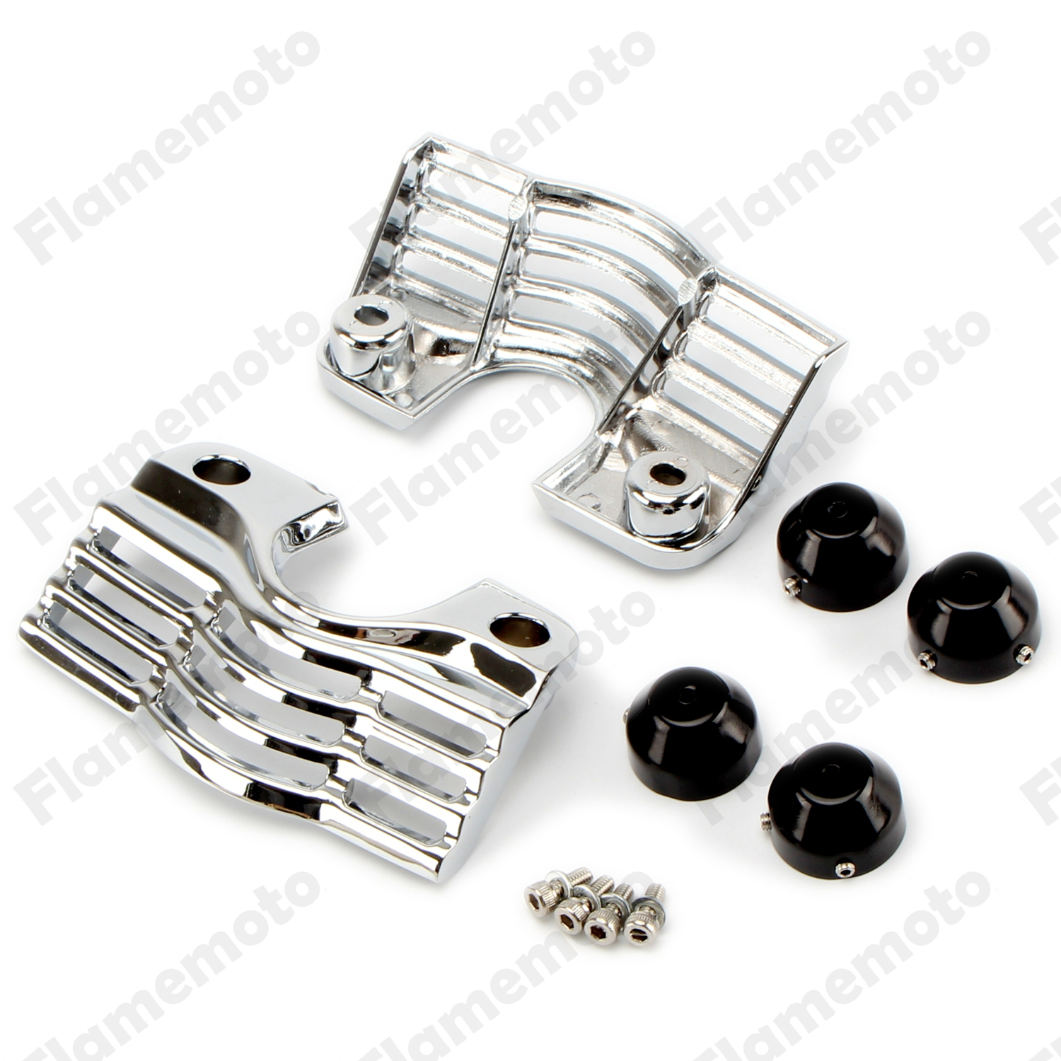 ФОТО Motorbike Parts Chrome Finned Spark Slotted Plug Head Bolt Covers For Harley Trikes Road King