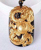 Beautiful Natural Black Obsidian Carved Gold Color Chinese Lucky Dragon Amulet Pendant + free Necklace fashion Jewelry