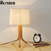 Horsten נורדי מנורת שולחן עץ אלון Morder 110 V 220 V E27 ברזל עץ שינה ליד מיטת שולחן קפה חנות מסעדה