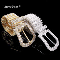 StoneFans Rhinestone Adjustable Sexy Waist Belt Women Bridal Crystal Wedding Party Waist Chain Belt For Bridemaid Dress Jewelry