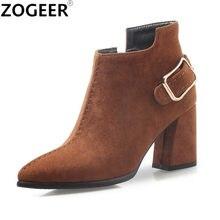 Primavera otoño tobillo estilo Euro botas cuadrados tacones Casual Flock  zapatos de mujer moda motocicleta botas 4b8ead6f8a98