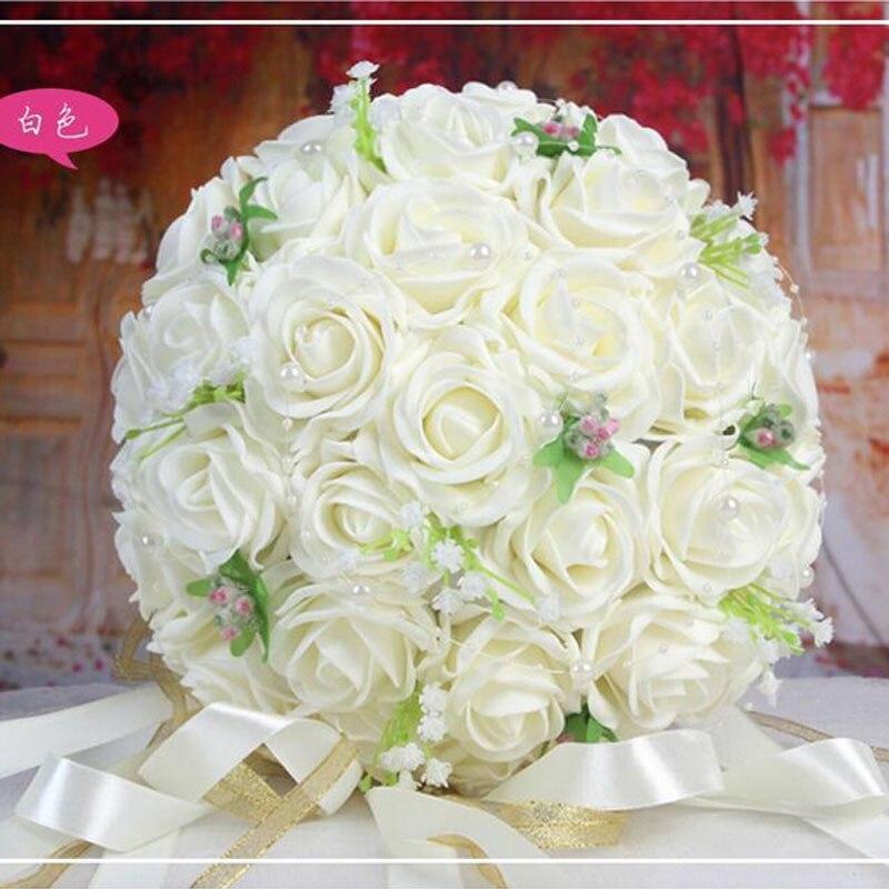 2019 Vackra Handgjorda Blommor Dekorativa Konstgjorda Rose Blommor - Bröllopstillbehör - Foto 4