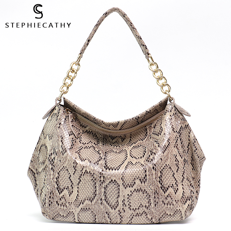 SC Elegant Shoulder Bags for Women 2018 High Quality Snake Real Cow Leather Shiny Luxury Serpentine