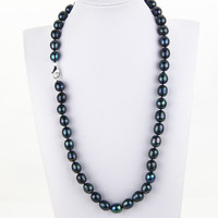 SNH 11mm A Rice Pearl Necklace 24 Potato Natural Freshwater Long Black Pearl Necklace Jewelry For