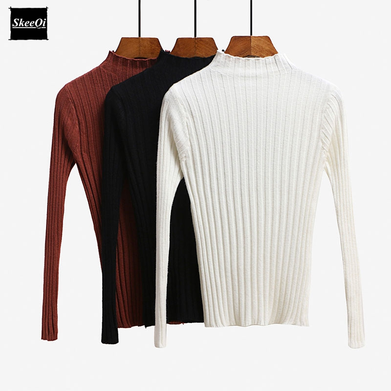 2018 New Autumn Luxury Fashion Runway Designer Women Sweater Pullover Sweaters Turtleneck Striped Basic Knitted Tops Jumper
