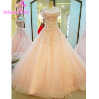 Elegant Applique Beading Crystal Ball Gown Vestido Tulle Sleeveless Pink Prom Dress Women Formal Evening Dresses 2017 Real Photo