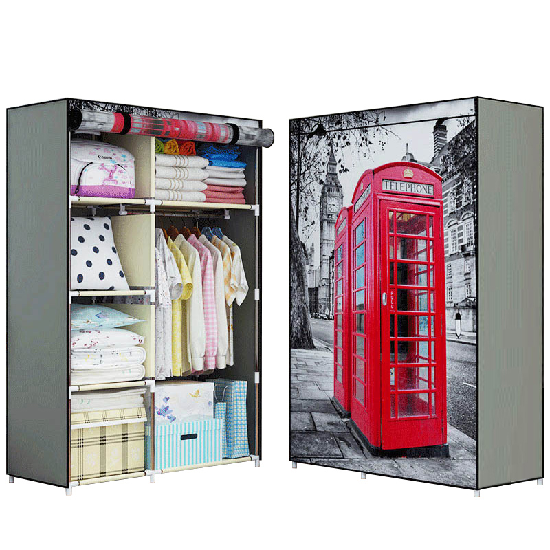 New 3D printing Non-woven Fabric Wardrobe Storage Organizer Detachable Clothing portable closet bedroom fashion furniture