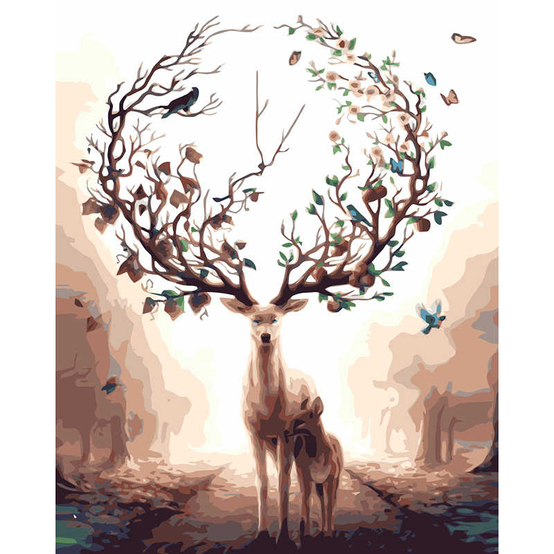 Deer Tree Abstract Dream Painting By Number Paint On Canvas Acrylic Coloring Painitng By Numbers drawing pictures Home Decor RQ