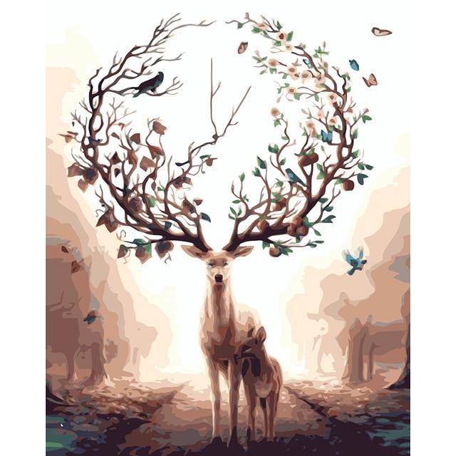 Rusa Pohon Abstrak Mimpi Lukisan Dengan Nomor Cat Pada Kanvas