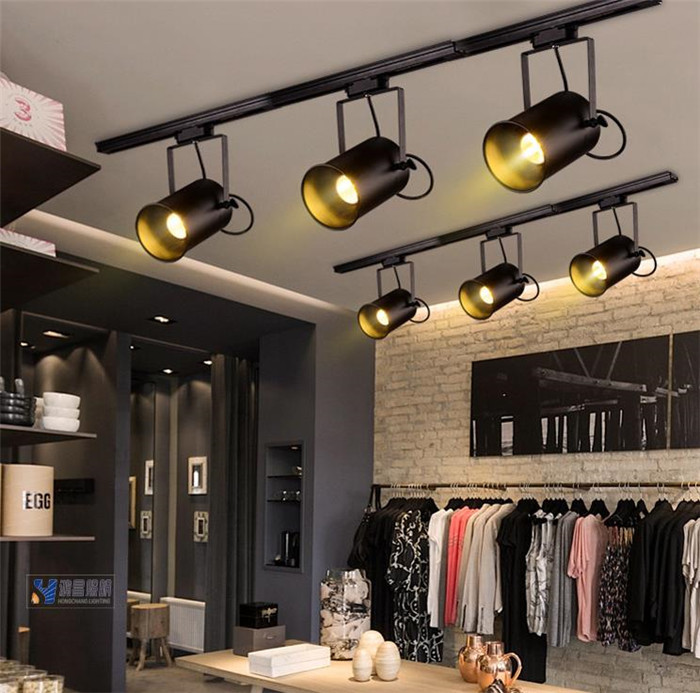 Industrial Vintage LOFT American black track light E27 clothing bar store shop ceiling track lighting 1 phase 2 wire rail l&-in Track Lighting from Lights ... & Industrial Vintage LOFT American black track light E27 clothing ... azcodes.com