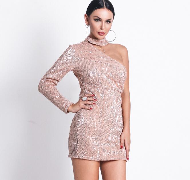 Cultiseed 2019 mujer europea Halter colgante cuello lentejuelas vestidos de fiesta señoras de un hombro delgado vestido de cadera vestidos de mujer - 4