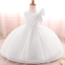 2016 Baby Girl White Dress For Baptism Wedding Gown Clothes Big Bow Toddler Girl Tutu Dress For Infant 1 2 Years Birthday Gift