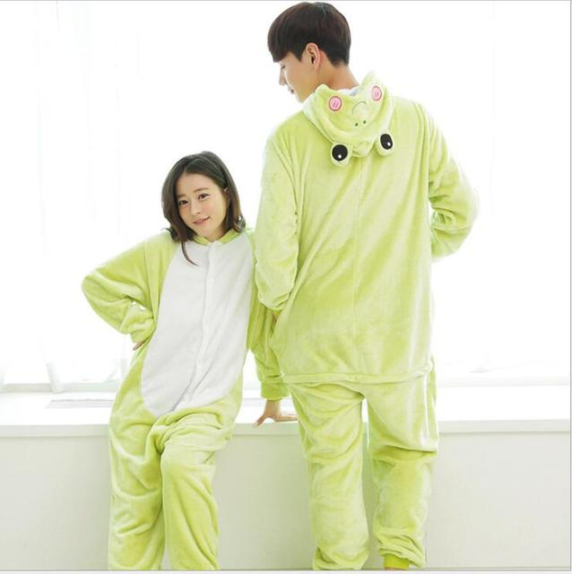 9a92c15e80 Flannel Women Pajama Cartoon Cosplay Onesies Nightgown Unisex Homewear Frog  Animal Pajamas one piece onesies for adults