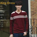 Man knitwear good quality 2016 new fall V-neck male fashion casual striped cotton long sleeved men sweater