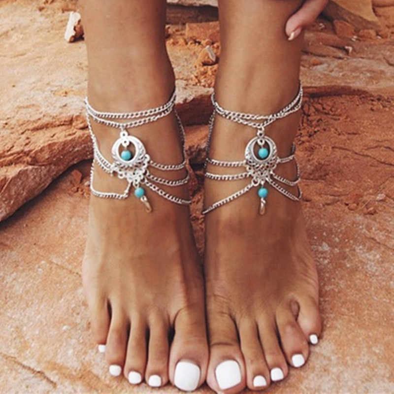 NewI Bohemia crystal blue Beads Anklets Tassel Foot Chain Anklet Bracelet women Jewelry Anklets For girls  wholesale 1 piece
