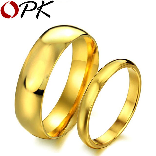 OPK JEWELRY Top Quality wedding ring stainless steel Gold plated Handmade Luxury couple set Jewelry 316