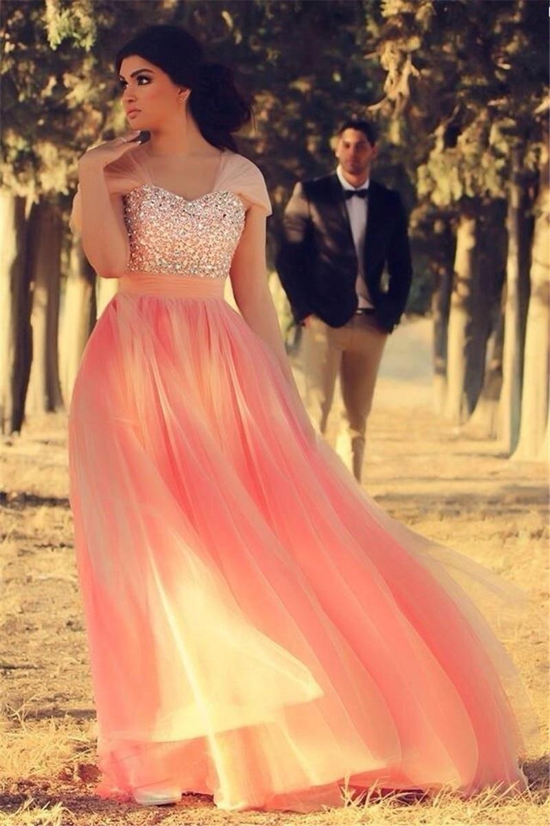 ec0db54719af Evening Dress 2017 Bling Bling Crystal Arabic Long Peach Prom Dresses Hot  Beautiful Chiffon Pink drsses