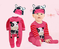2016 New Spring 2pcs Newborn Baby Girl Boy Clothes Cows Animals The Lion Tiger Long Sleeves