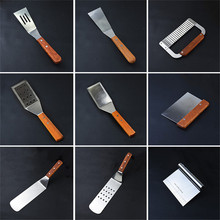 ФОТО JIANDA Steak Stainless Steel Fried Shovel Spatula Pizza Grasping Cutters Spade Pastry BBQ Tools Wooden Handle Kitchen Utensils