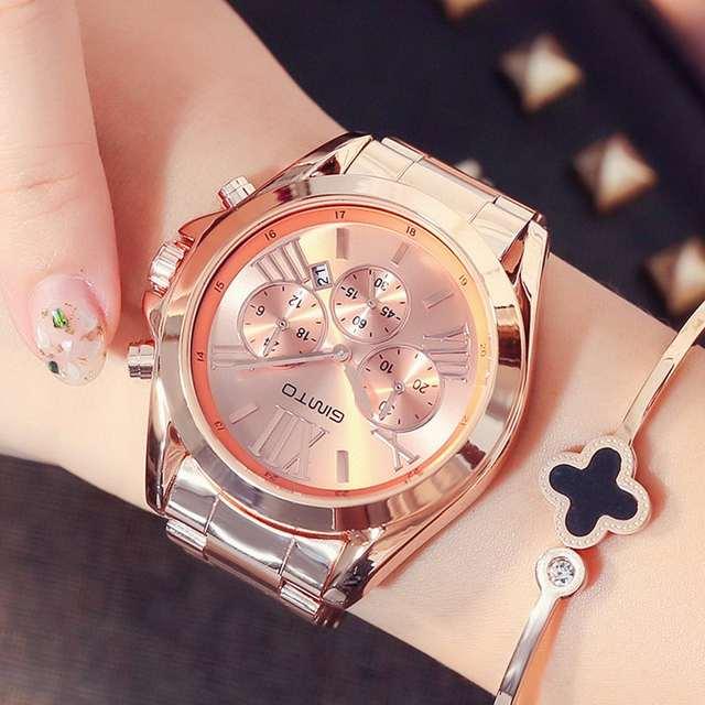 72fdb7af51a8 placeholder Gimto marca de lujo de oro rosa mujeres reloj impermeable  Calendarios único cuarzo negocios relojes para