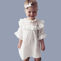 Çocuklar Için kız Pamuk Dantel Elbise 2017 Yaz Yeni Varış çocuk Giyim Beyaz Dantel Prenses Kore Sevimli Ince Elbise Boyutu 1-4 T