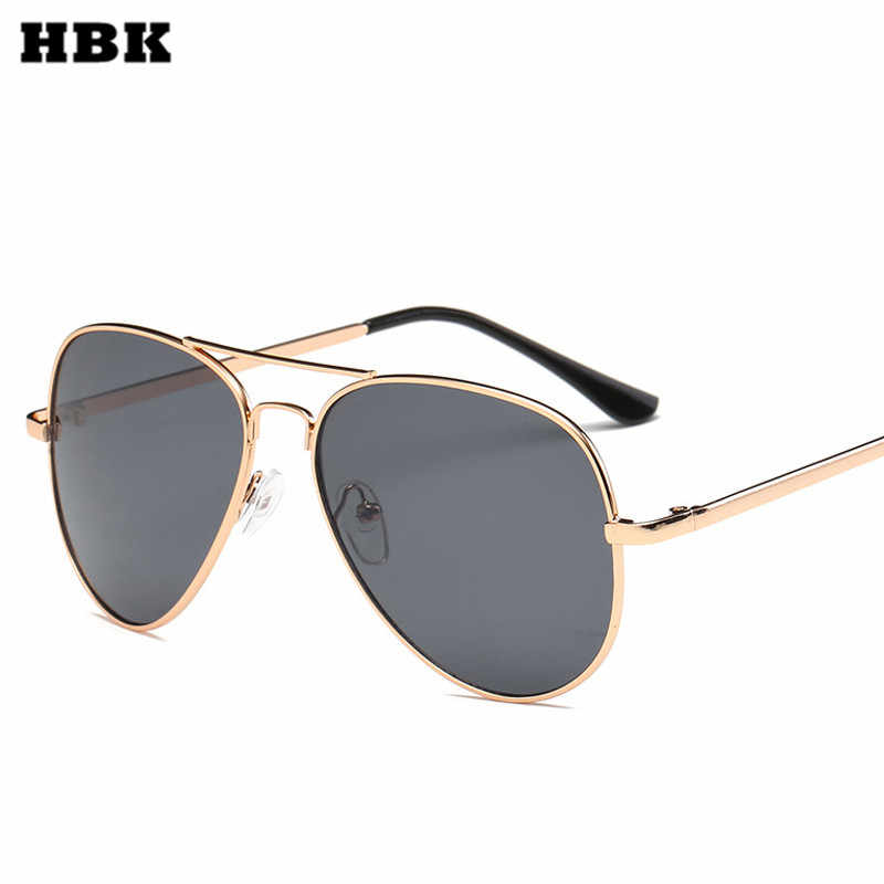 HBK Men Sunglasses Classic Pilot Top Quality Metal Frame Women Men Rays Sun Glasses Red Brown Pink  Clear Lens Oculos UV400