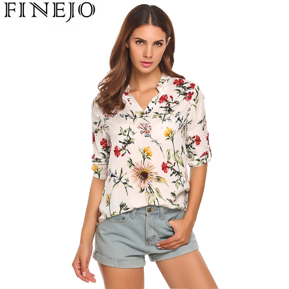 FINEJO Women Floral Printed Vintage Cotton Blouses Shirts 3 4 Sleeve Femme Blouse Fashion Ladies