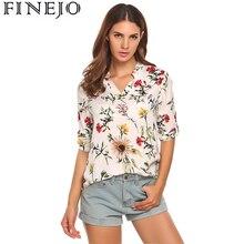 Finejo Для женщин с цветочным принтом Винтаж Хлопковая блузка Рубашки 3/4 рукав Femme Блузка модные дамы леди футболки для женщин Топы