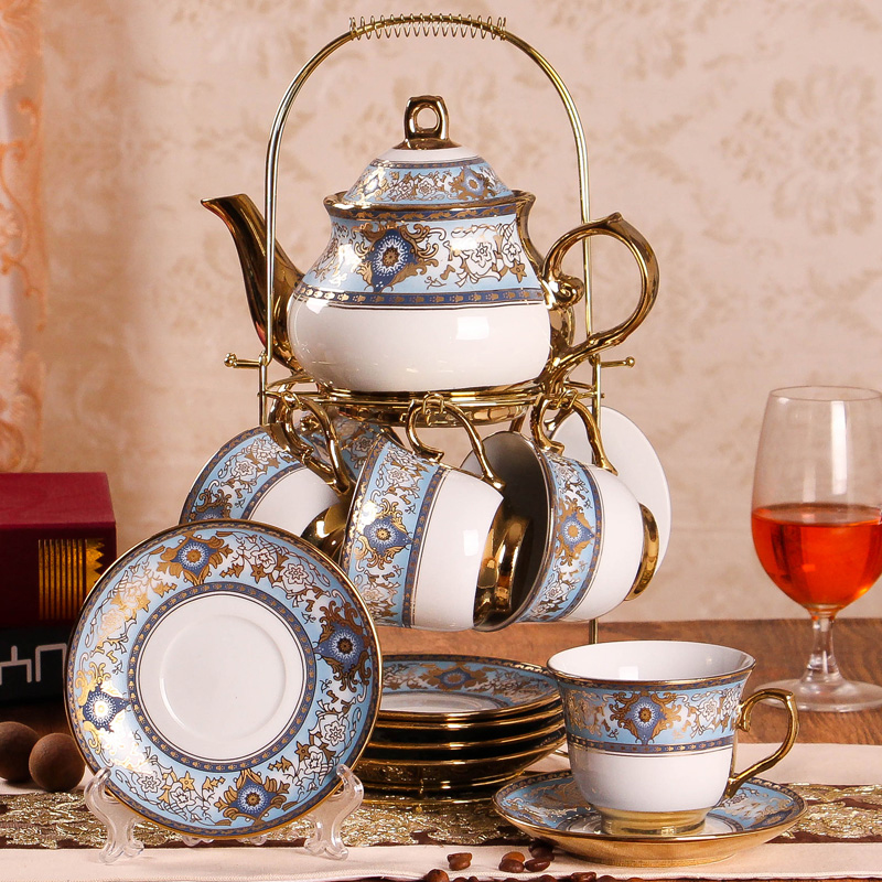 14pcs/set Europe high grade coffee cup set British Afternoon Tea Advanced Porcelain Cup and Saucer Pot shelf Gift Box