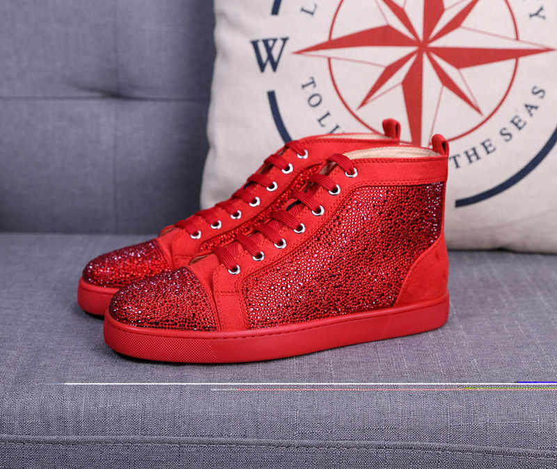 2151883908e0 ... 2018 Men Women Designer Brand Red Bottom Shoes Fashion Spikes Studded  Flats Sneakers Comfortable Genuine Leather