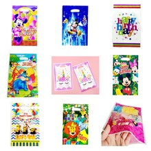 100pcs Mickey Mouse/Unicorn/Little Mermaid Princess Plastic Gift bag Wedding Happy Birthday Party Decoration Cookie Candy Bags(China)