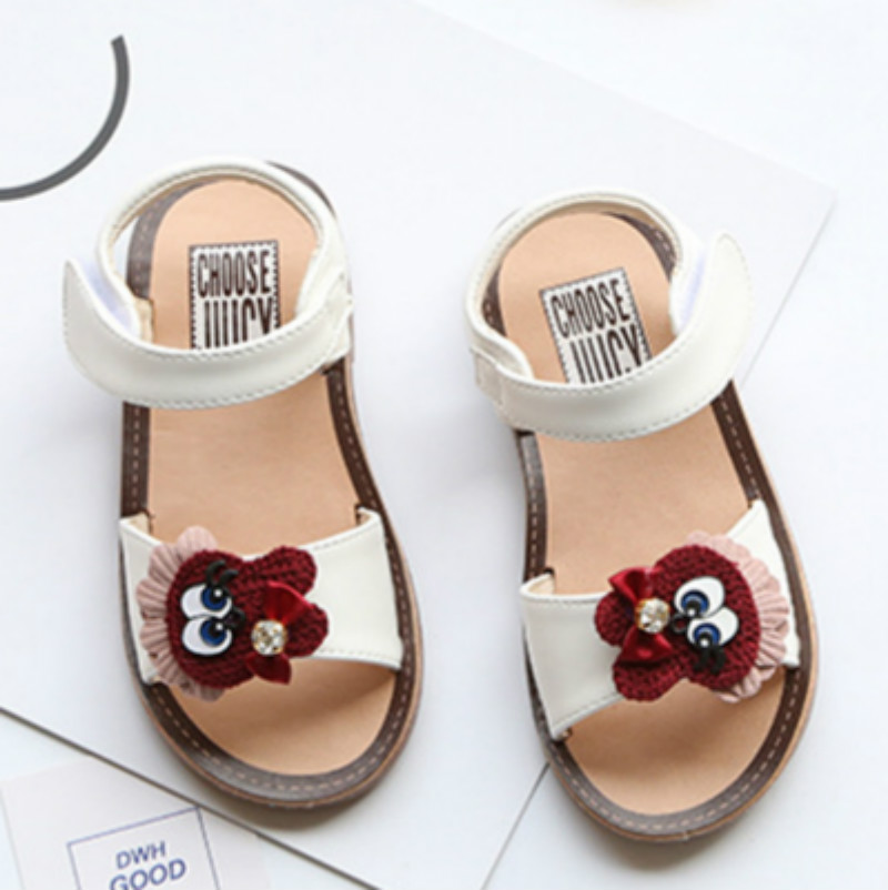 2018 Baby Girls Sandals Todders Cute Black Cat Beach Shoes Kids Summer New Hook & Loop Children Sandals Open Toe Pink Size 21-25