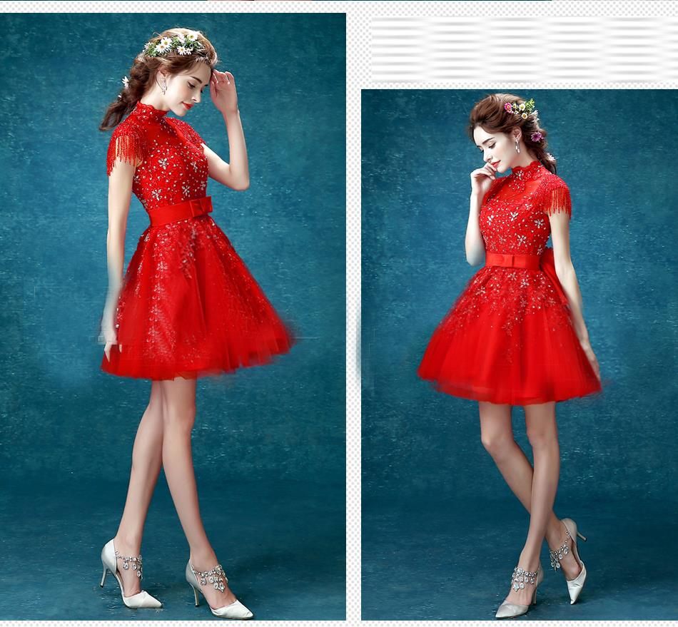 2016 sexy red lace cocktail dress short high backless slim dress ...
