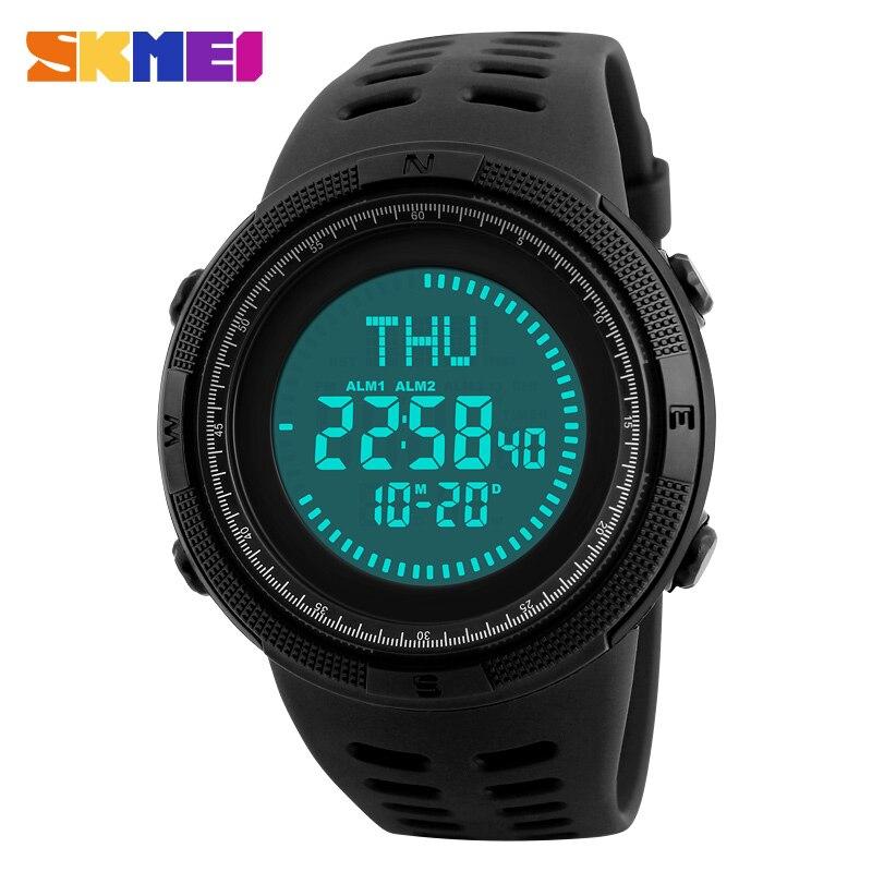 SKMEI Brand Compass Watches 5ATM Water Proof Digital Outdoor Men's Sports Watch Countdown Wrist Watches Male Women Clock 1254#