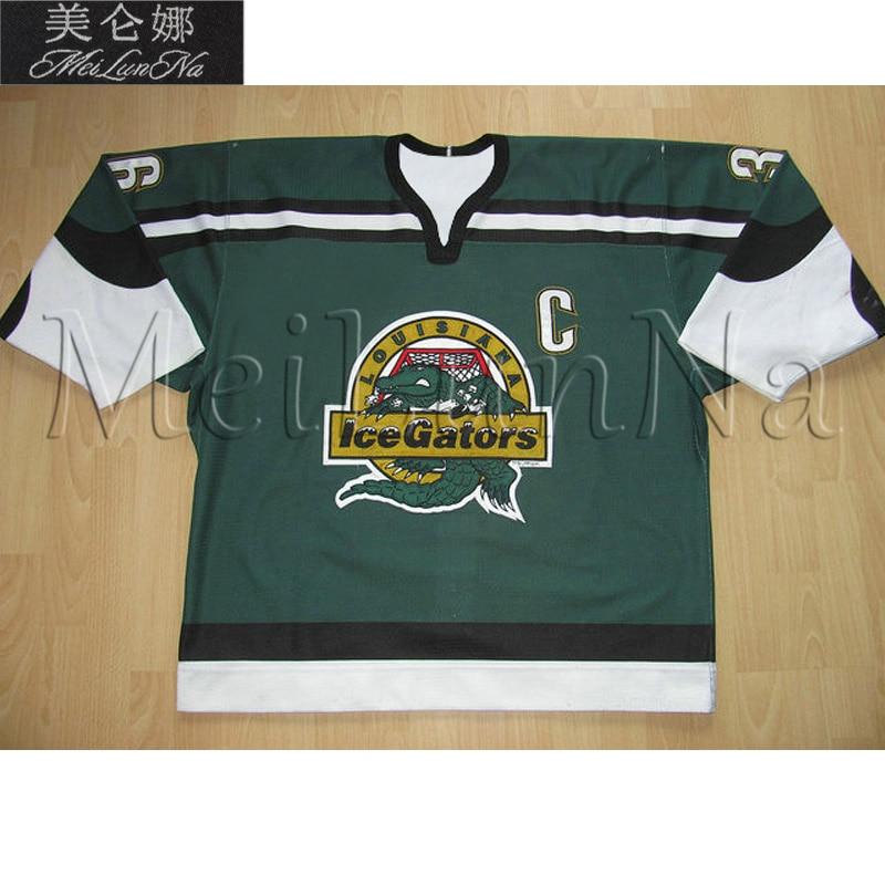 MeiLunNa Custom ECHL Louisiana Ice Gators Hockey Jerseys John Spoltore Jay Murphy Home Road Sewn On Any Name NO.Size meilunna custom echl manchester monarchs hockey jerseys 6 david kolomatis 24 michael doherty home road sewn on any name no size