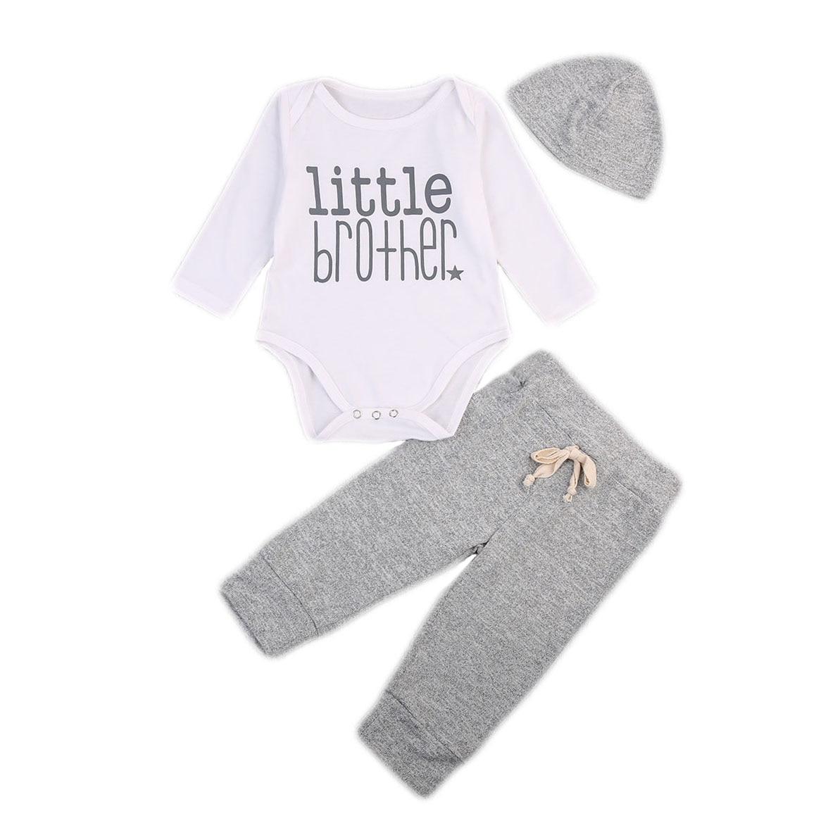 2017 Toddler Kids Baby Boy Clothes Long Sleeve Romper Bodysuit Long Pants Hat 3pcs Outfits Autumn Cute Baby Boy Sets