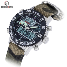 2017 Watch Men's Sport Dual Display Analog Digital Led Quartz Watch Electronic Swimming Watches Military Watches Male Clock