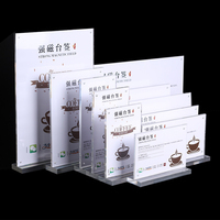 10pcs Lot A4 Acrylic Display Stand Strong Magnetic Signed Card Table Menu Price Crystal Wine Table