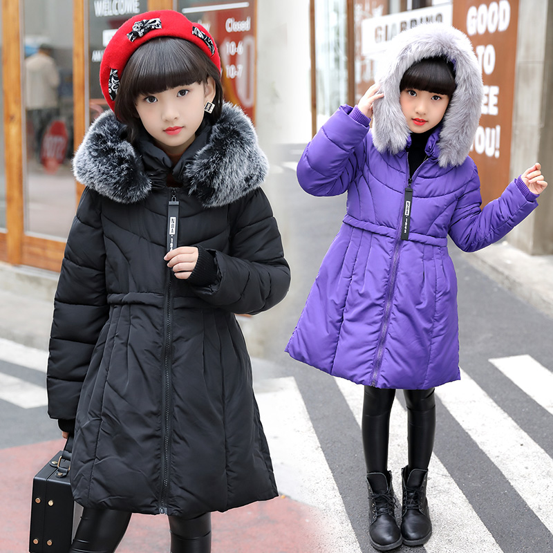 2018 Fall Winter Girls Cotton Padded Clothes Children Long Wadded Jacket Female Kids Casual Hooded Coat With Detachable Hat D42 long section men s wadded jacket fashion solid cotton padded clothes trench coat hooded jacket casual outerwear slim parka m 3xl