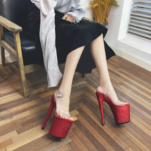 цены Leecabe 20cm New pole dance heel sexy ladies Red Glitter Heels platform shoes high-heeled sandal shoe platform pole dancing shoe
