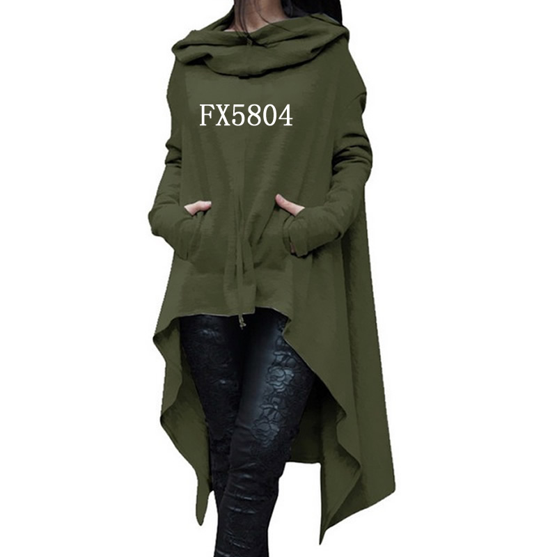 2018 New Fashion Sweatshirts Femmes Hoodies Women Print Pockets Autumn Long Sleeve Irregular Tops for Woman