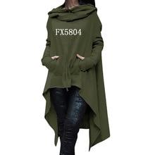 2018, новая мода кофты Femmes толстовки для женщин принт Карманы Осень с длинным рукавом Нерегулярные Топы корректирующие для