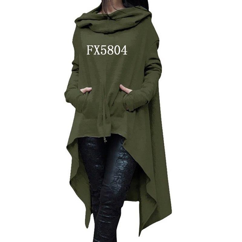 2018 nueva moda sudaderas mujeres sudaderas mujer impresión bolsillos otoño manga larga Irregular Tops para mujer