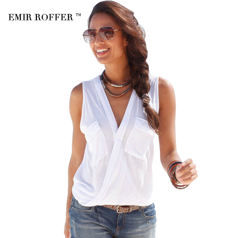 EMIR ROFFER Summer Brand Femme Sexy Top Female T-shirt V Neck Sleeveless Patchwork Shirt Women Cotton Plus Size Clothing